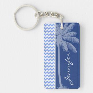 Tropical Blue Chevron Double-Sided Rectangular Acrylic Keychain