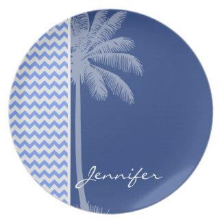 Tropical Blue Chevron Plates