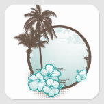 Tropical blue circle stickers