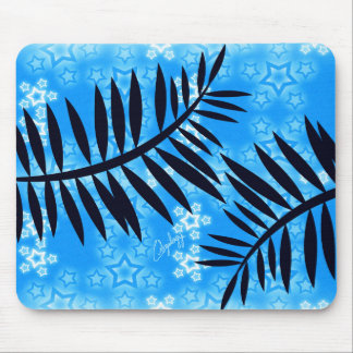 Tropical Blue Fantasy Stars Mouse Pad