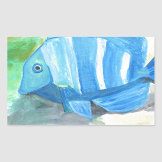 Tropical blue fish rectangular sticker