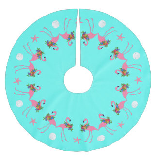 Tropical Blue Flamingo Christmas Border Brushed Polyester Tree Skirt