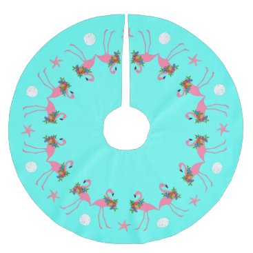 Beach Themed Tropical Blue Flamingo Christmas Border Brushed Polyester Tree Skirt