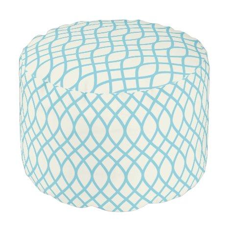Tropical Blue Geometric Pouf