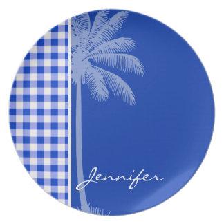 Tropical Blue Gingham Dinner Plate
