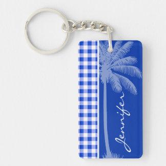 Tropical Blue Gingham Double-Sided Rectangular Acrylic Keychain
