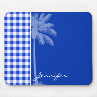 Tropical Blue Gingham Mouse Pad