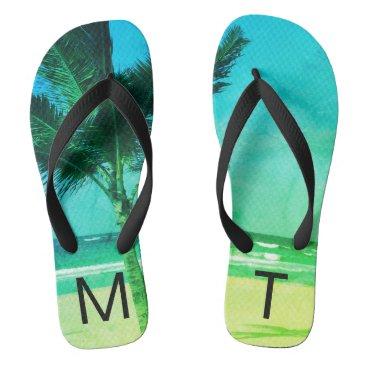 Beach Themed Tropical Blue/Green Beach & Palm Tree Initial Flip Flops