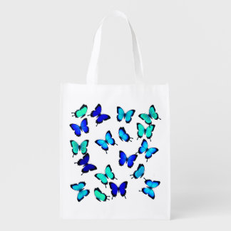 Tropical Blue Green Butterflies Grocery Bag Grocery Bags