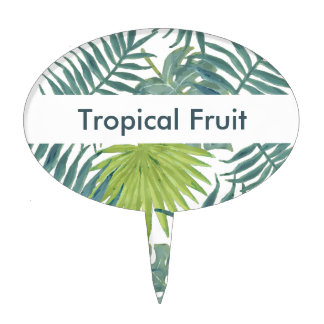 Tropical Blue Green Palm Drawing Graphic Cake Topper