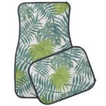 Tropical Blue Green Palm Drawing Graphic Car Mat