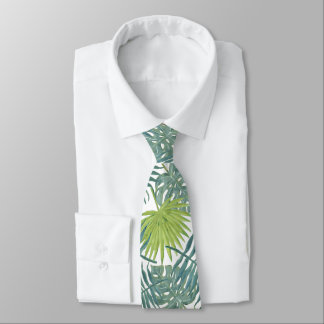 Tropical Blue Green Palm Drawing Graphic Neck Tie