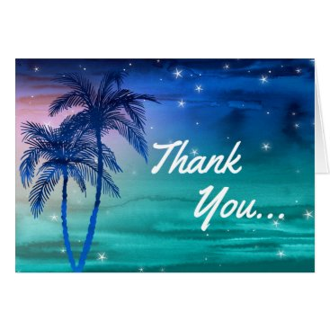 Beach Themed Tropical Blue Green Palm Tree Thank You Cards