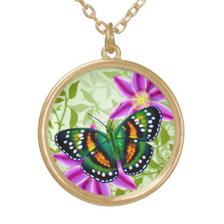 Tropical Blue Green Teal Butterfly Pendant