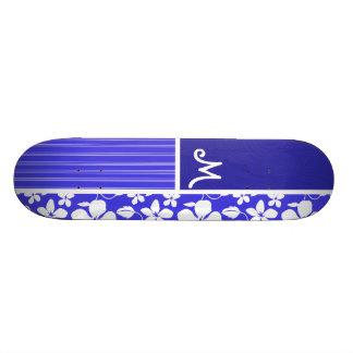 Tropical Blue Hibiscus Flower Floral Custom Skateboard