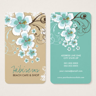 Tropical Blue Hibiscus Flower Rustic Business Card