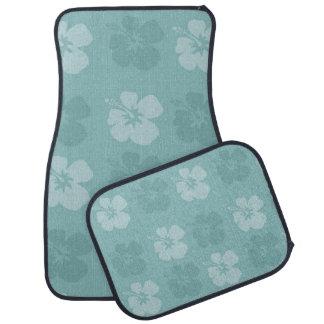 Tropical Blue Hibiscus Flowers Car Mat