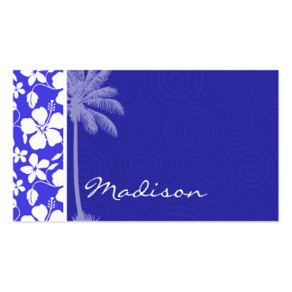 Tropical Blue Hibiscus; Palm Double-Sided Standard Business Cards (Pack Of 100)