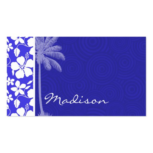 Tropical Blue Hibiscus; Palm Business Cards