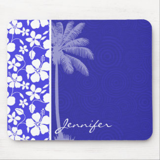 Tropical Blue Hibiscus; Palm Mouse Pad