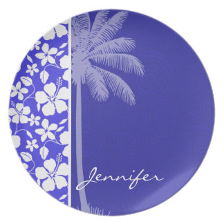 Tropical Blue Hibiscus; Palm Party Plates