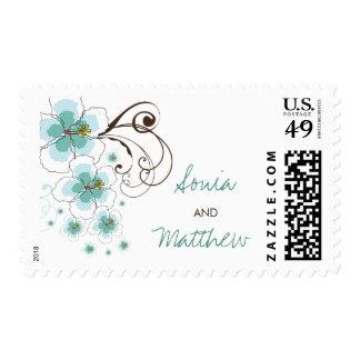 Tropical Blue Hibiscus Summer Beach Wedding Stamps
