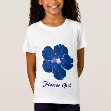 sandpiperwedding Tropical Blue Hibiscus Wedding Flower Girl T-Shirt