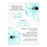 Tropical Blue Hibiscus Wedding Shower Invite