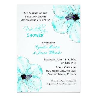 "Tropical Blue Hibiscus Wedding Shower Invite 4.5"" X 6.25"" Invitation Card"