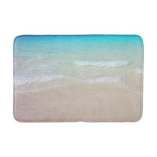 Tropical Blue Ocean and Beach Sand Bath Mat