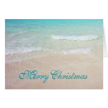Beach Themed Tropical Blue Ocean Beaches Christmas Cards
