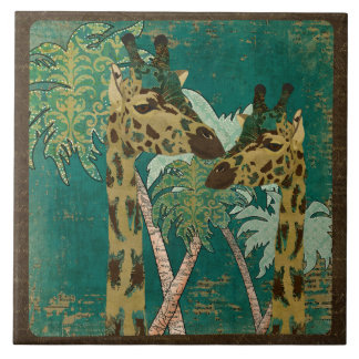 Tropical Blue Paisley Giraffes Retro  Tile