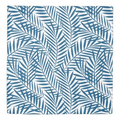 Tropical blue palm leaf duvet cover