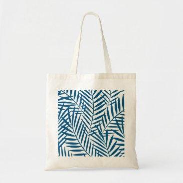 adamfahey Tropical blue palm leaf tote bag