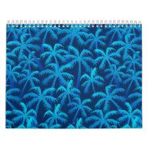 Tropical blue palm trees calendar