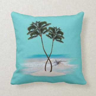 Tropical Blue Palm Trees Decorative Throw Pillow