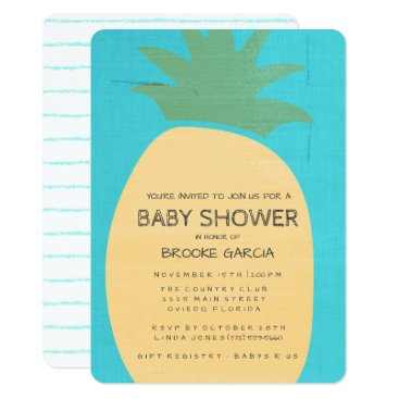 Toddler & Baby themed Tropical Blue Pineapple Baby Shower Invite