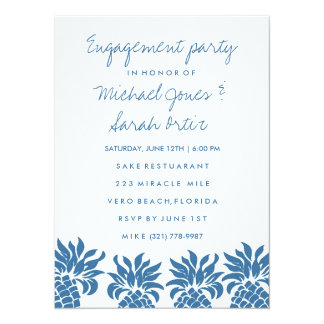 Tropical Blue Pineapple Engagement Party Invite