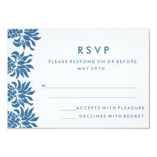 Tropical Blue Pineapple Wedding RSVP Card