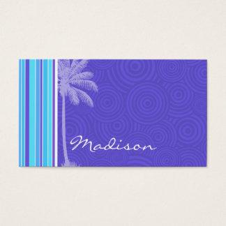 Tropical Blue & Purple Stripes; Striped Business Card