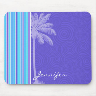 Tropical Blue & Purple Stripes; Striped Mouse Pad