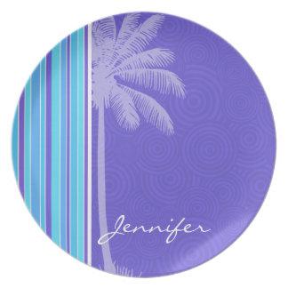 Tropical Blue & Purple Stripes; Striped Dinner Plates