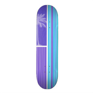 Tropical Blue & Purple Stripes; Striped Custom Skateboard