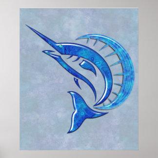 Tropical Blue Sailfish Posters