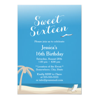 Tropical Blue Sky Beach Theme Sweet 16 Card