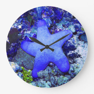 Tropical Blue Starfish Resting On Undersea Coral Large Clock