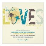 Tropical Blue Sunset Palm Trees Beach Wedding Card