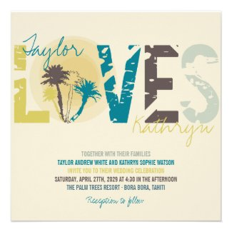 Tropical Blue Sunset Palm Trees Beach Wedding Announcement