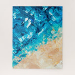 "Tropical blue turquoise ocean beach acrylic paint jigsaw puzzle<br><div class=""desc"">Abstract blue turquoise ocean beach acrylic brushstrokes painting by Girly Trend</div>"