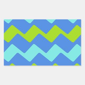 Tropical Blue Wavy Stripes Rectangular Sticker